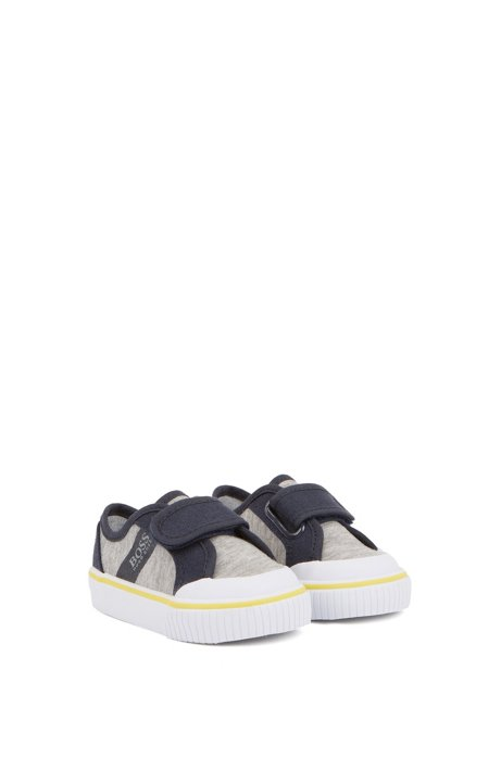 Kids' trainers in cotton canvas with touch fastening, Light Grey
