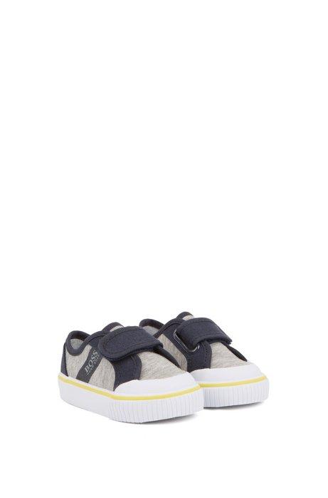 Kids-Sneakers aus Baumwoll-Canvas mit Klettverschluss, Hellgrau