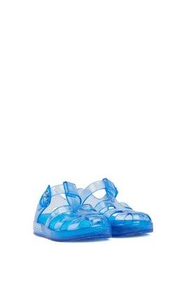 Sandales en plastique pour enfant à logo imprimé, Bleu