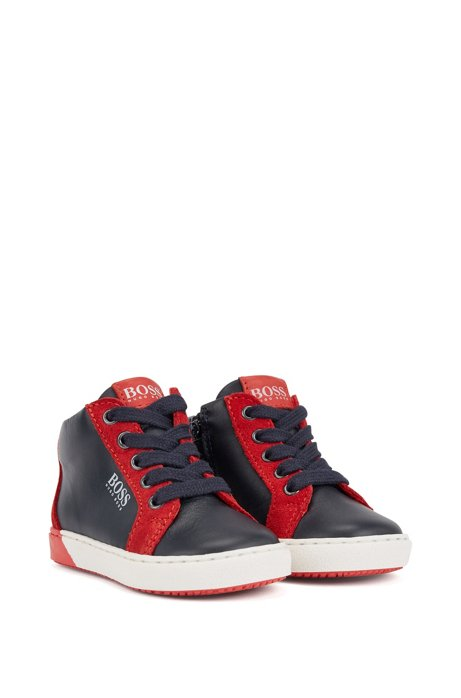 Kids' high-top trainers in colour-blocked leather, Dark Blue