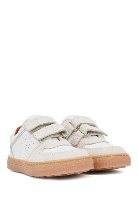 Baskets pour enfant en cuir et cuir suédé avec bandes auto-adhésives, Blanc