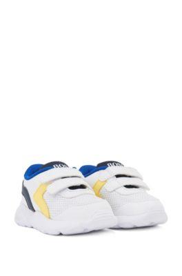 Sneakers da bambino con logo, dettagli colorati e chiusura a strappo, A disegni