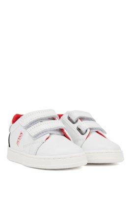 Kids-Sneakers aus Leder mit Colour-Block-Design und Klettverschlüssen, Weiß