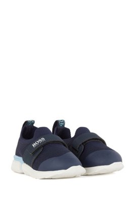 Kids' sock trainers with logo strap, Dark Blue