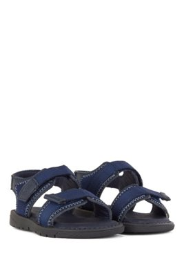 Kids' two-tone sandals with logo strap, Dark Blue