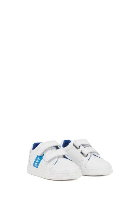 Sneakers in pelle da bambino con riga con logo a contrasto, Bianco