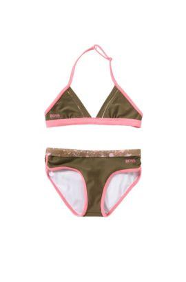Bikini da bambina con spallina da allacciare alla nuca: 'J10096', Verde scuro