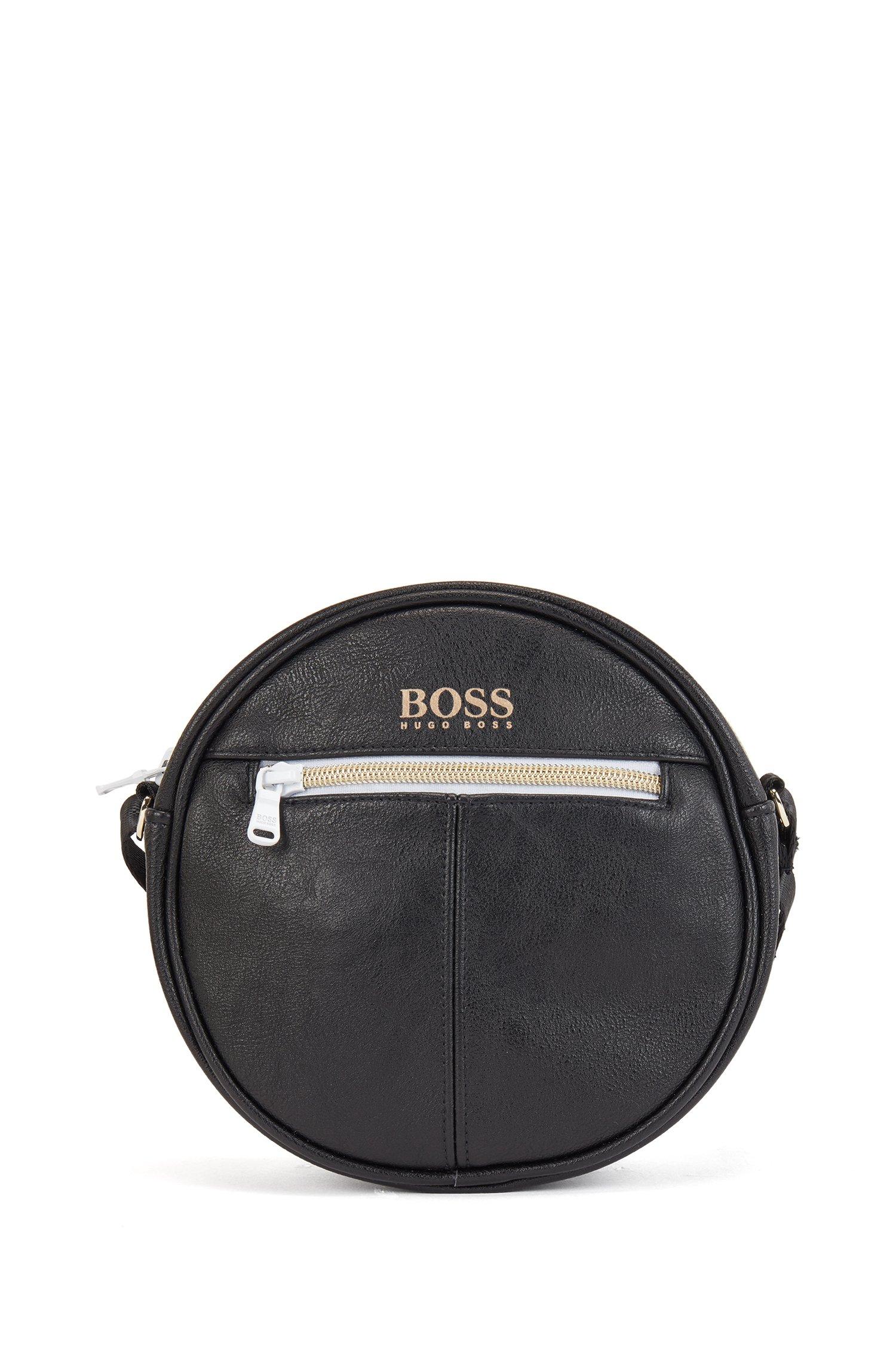 Kids' handbag in faux leather with foil-print logo, Black