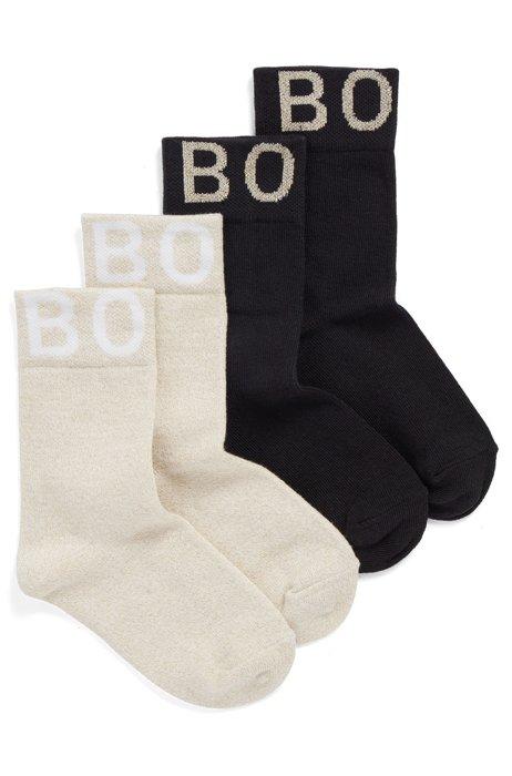 Lot de deux paires de chaussettes à logos en jacquard pour enfant, Fantaisie