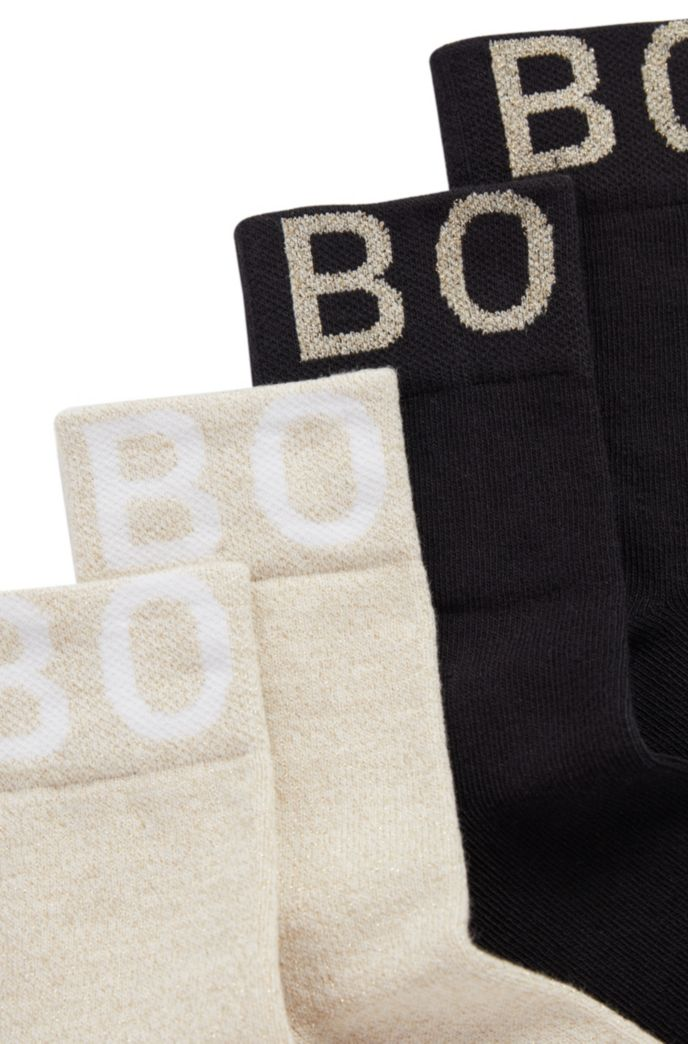 Two-pack of kids' socks with jacquard-woven logos