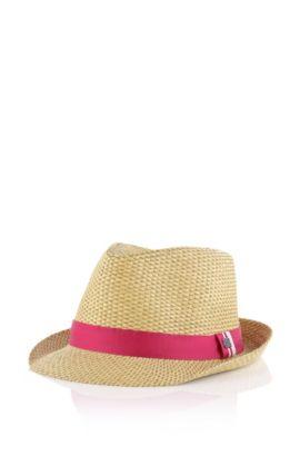 Chapeau en paille pour enfant «J11060» en fibre de papier, Rose foncé