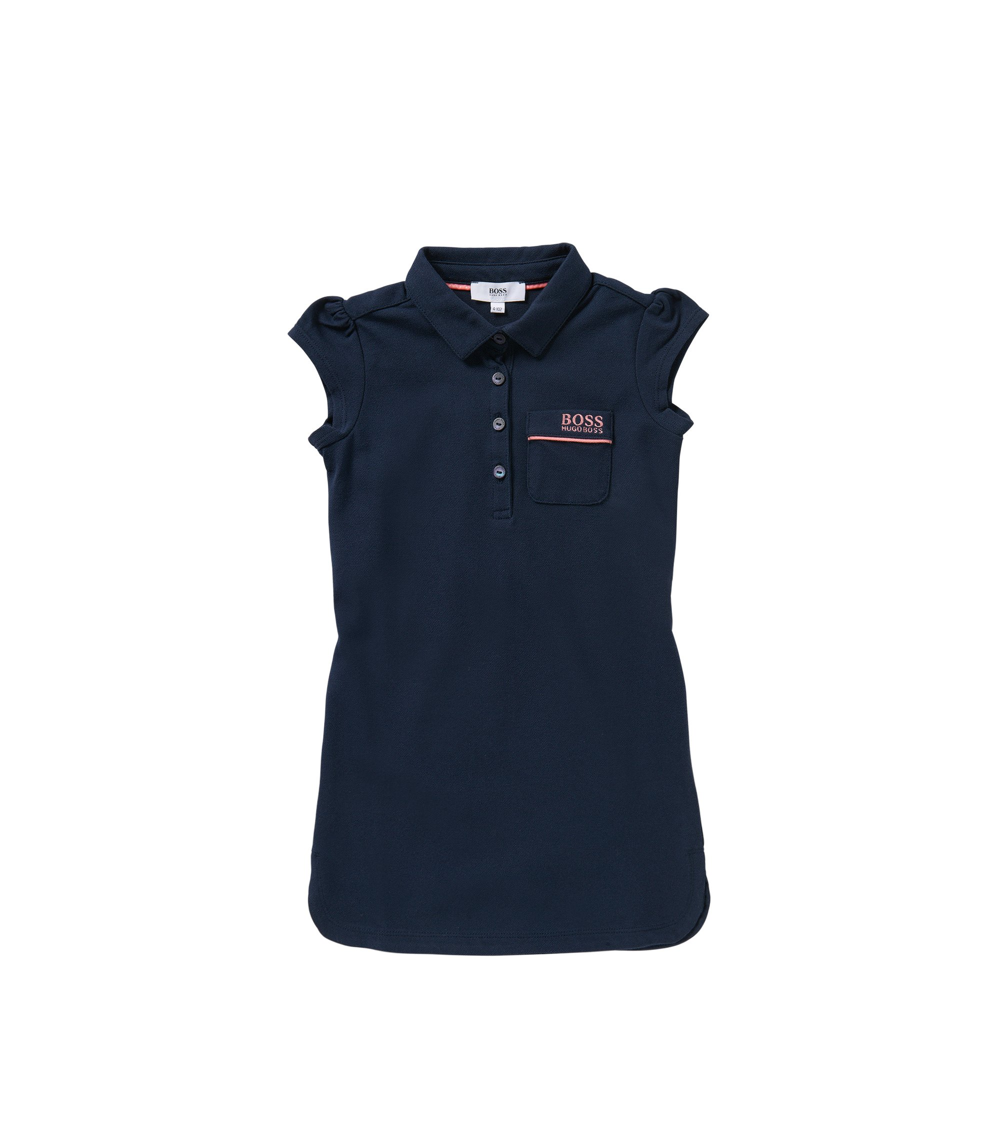 Kids' dress in stretch cotton in polo style: 'J12143', Dark Blue
