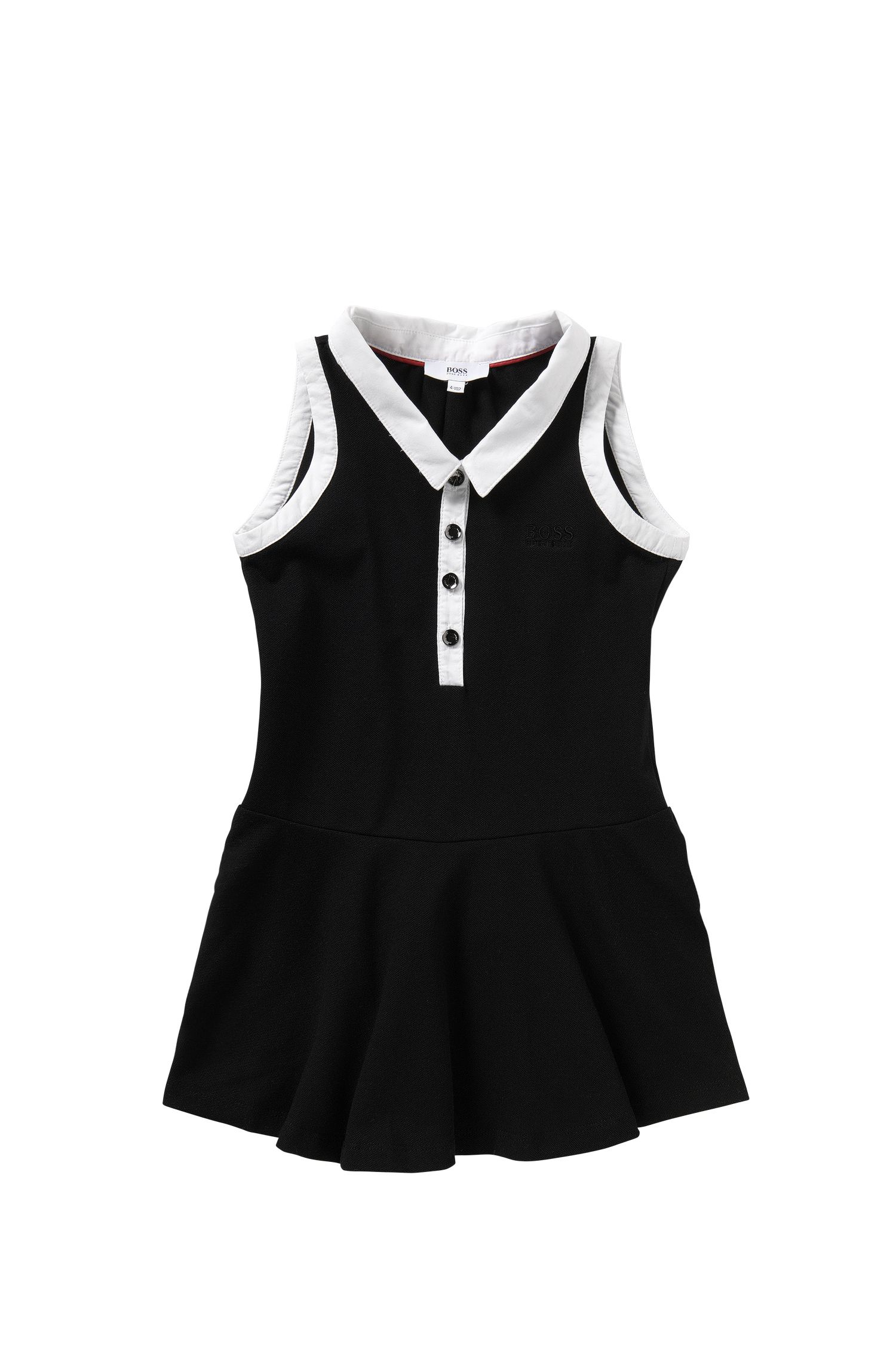 Kid's dress in stretch cotton with contrasting colour details: 'J12146'