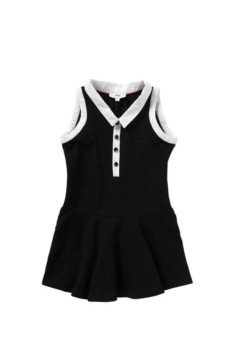 Robe pour enfant en coton stretch ornée de détails en contraste: «J12146», Noir