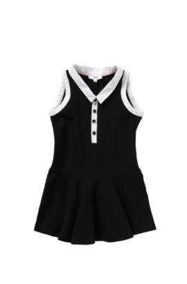 Kid's dress in stretch cotton with contrasting colour details: 'J12146', Black