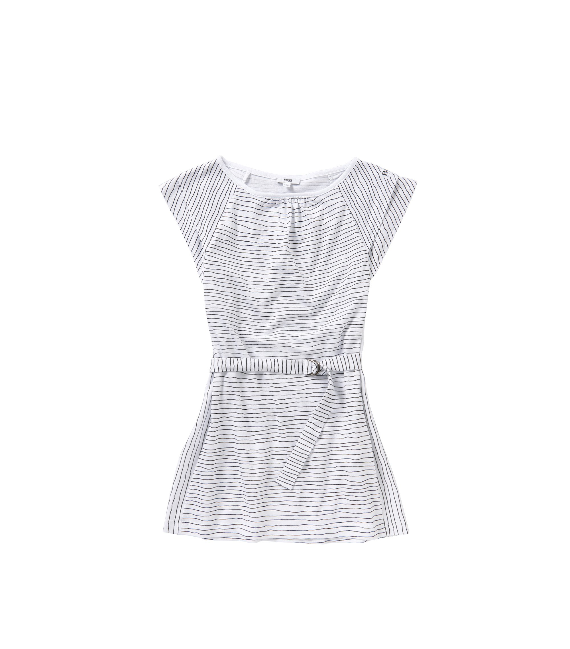 Striped kids' dress in cotton with belt: 'J12148', Patterned