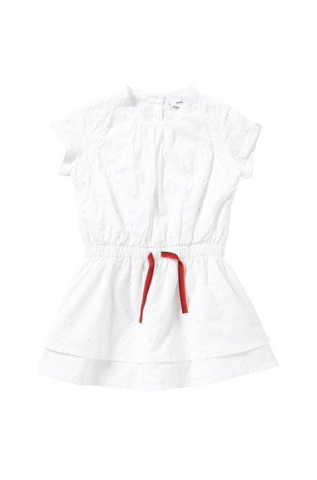 Abito da bambina in cotone con elastico: 'J12150', Bianco