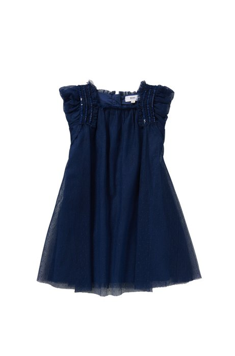 Kids-Kleid mit Pailletten-Applikation: 'J12151', Dunkelblau