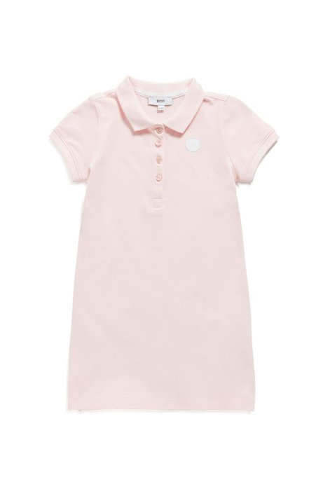 Kids-Polokleid aus Stretch-Baumwolle, Hellrosa
