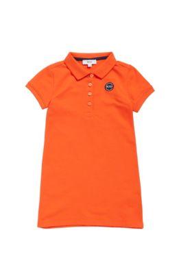 Robe polo pour fille en piqué de coton stretch, Orange
