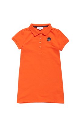 Kids-Polokleid aus Stretch-Baumwolle, Orange