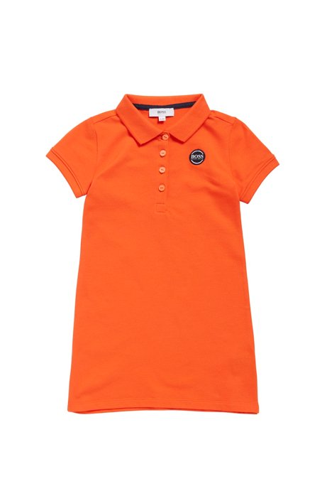 Kids' polo dress in stretch-cotton piqué, Orange
