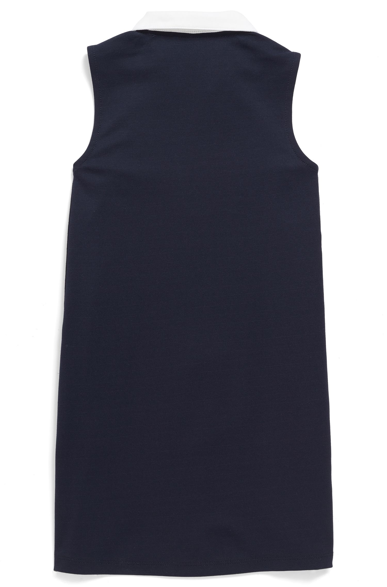 Kids' sleeveless tennis dress with contrast sateen collar, Dark Blue