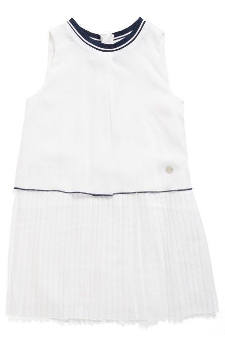 Vestito da bambina senza maniche con gonna a pieghe, Bianco