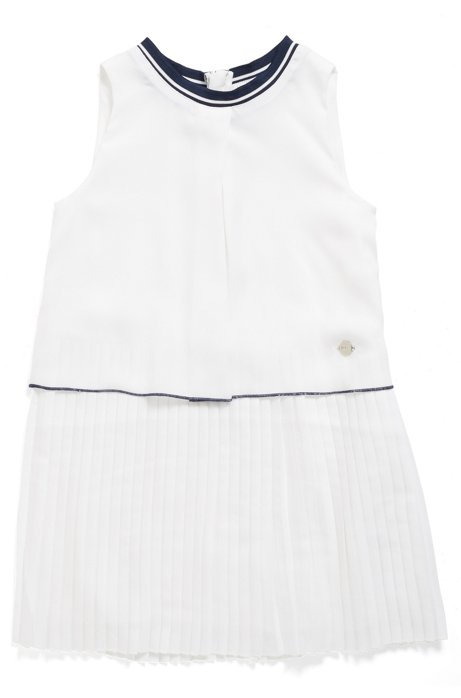 Kids' sleeveless dress with pleated skirt, White