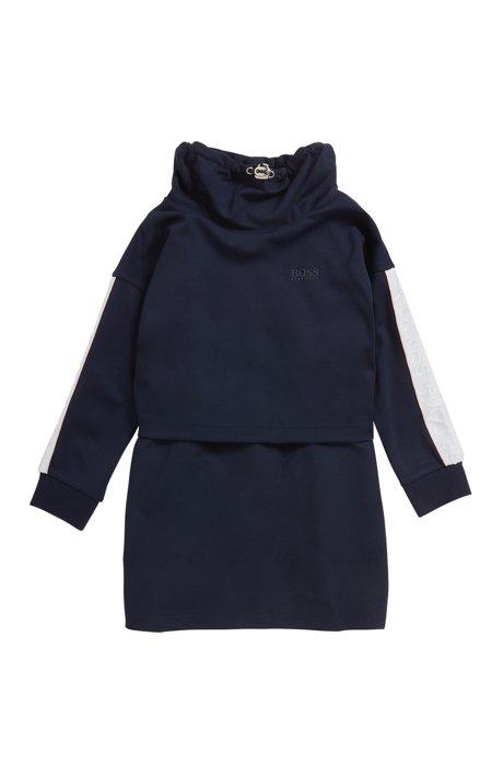 Robe pour enfant avec col à cordon de serrage, Bleu foncé