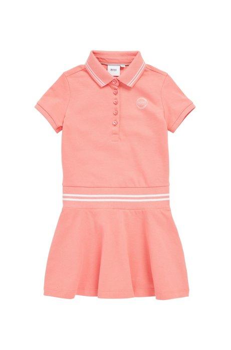 Robe polo pour enfant en piqué stretch avec logo irisé, Rose clair