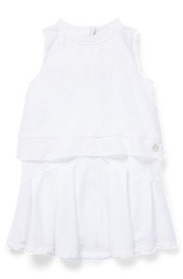 Kids-Kleid mit kurzen Ärmeln und Voile-Overlay, Weiß