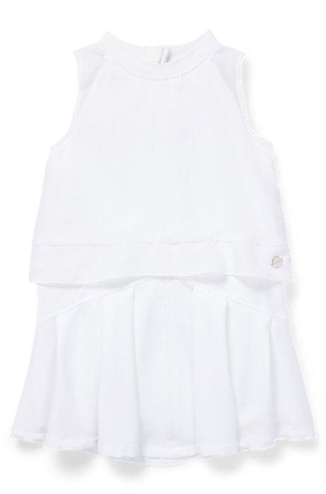 Robe à manches courtes pour enfant avec superposition en voile, Blanc
