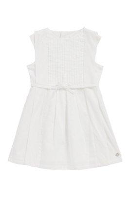 Ärmelloses Kids-Kleid aus Knitter-Baumwolle mit Seiden-Details, Weiß