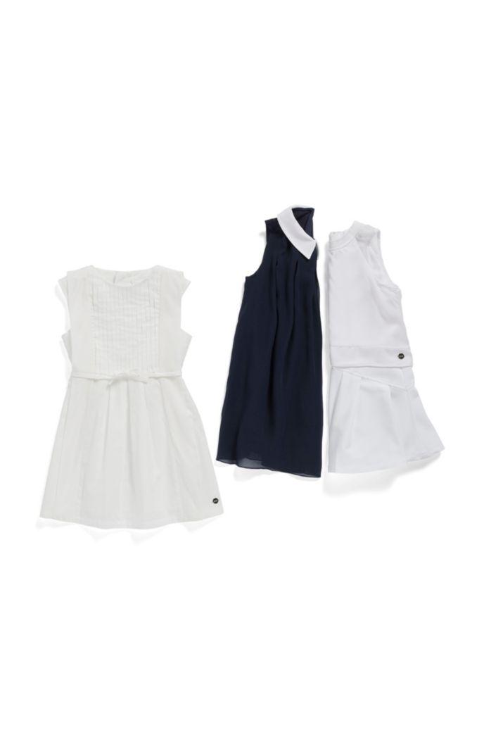 Ärmelloses Kids-Kleid aus Knitter-Baumwolle mit Seiden-Details