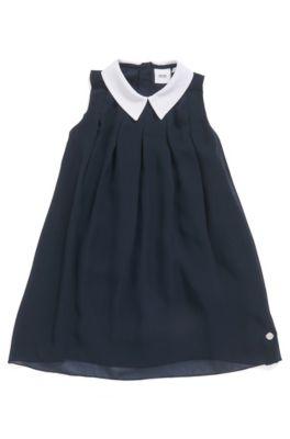Mouwloze kinderjurk met bovenlaag en contrasterende kraag, Donkerblauw
