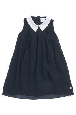 Ärmelloses Kids-Kleid mit Overlay und Kontrastkragen, Dunkelblau