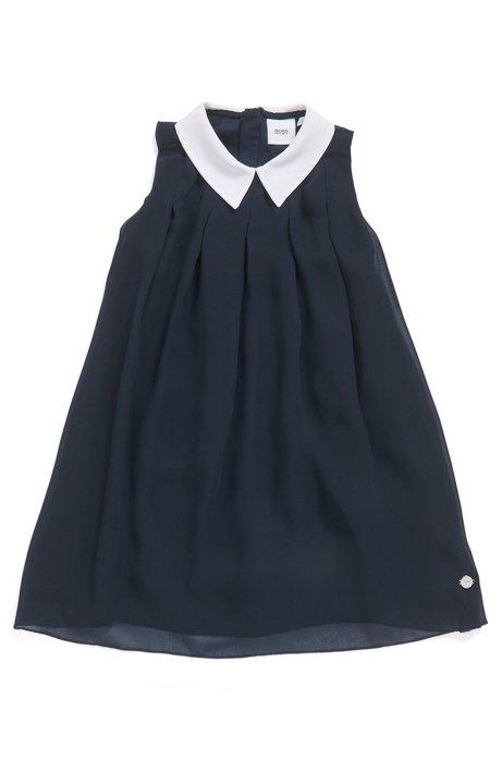Robe de tennis sans manches pour enfant avec superposition et col contrastant, Bleu foncé