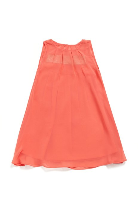Ärmelloses Kids-Kleid aus Krepp mit Logo auf dem Gummiband, Rot