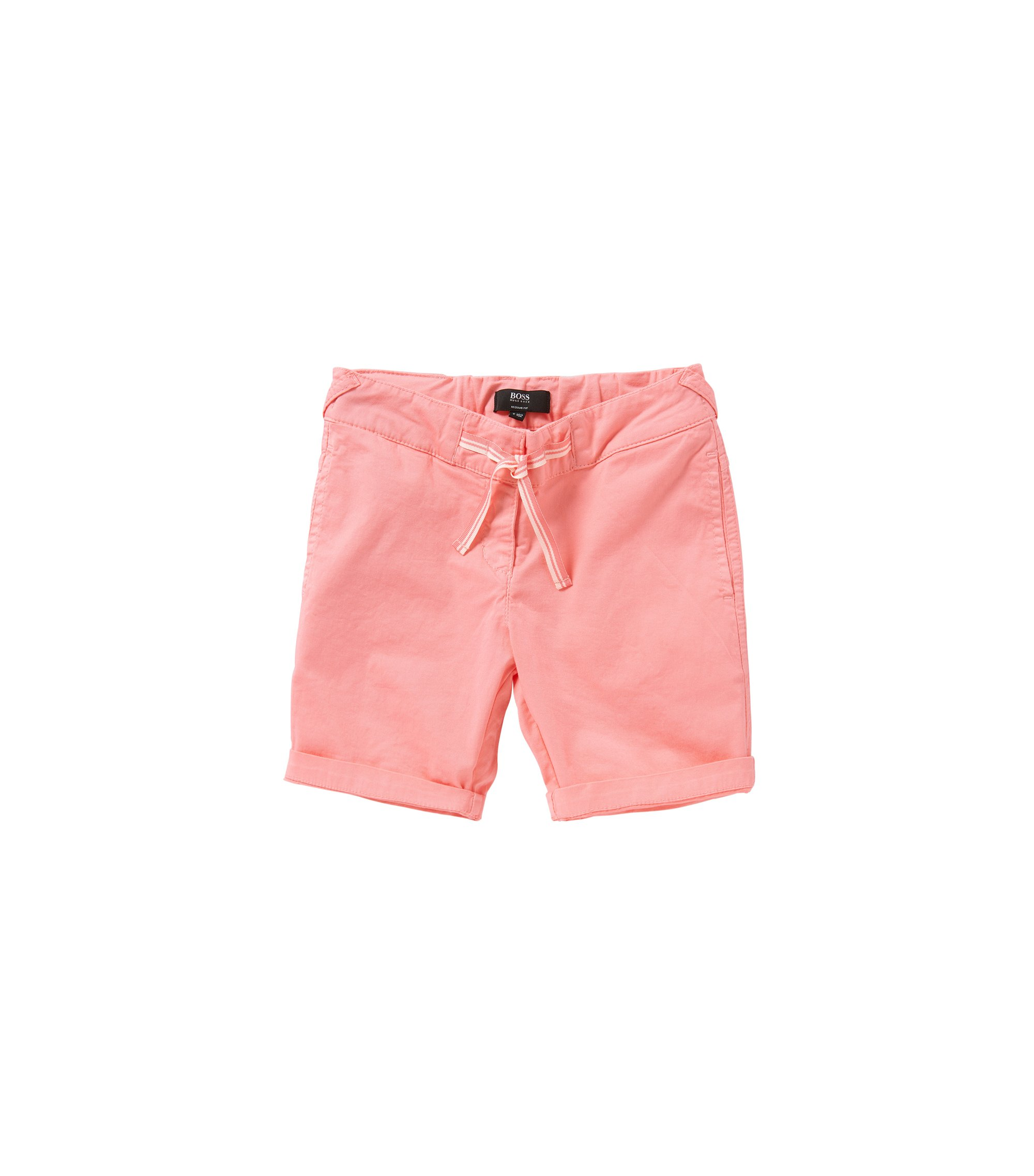 Regular-Fit Kids-Shorts aus Baumwolle mit Schleifen-Detail: 'J24410', Hellrosa
