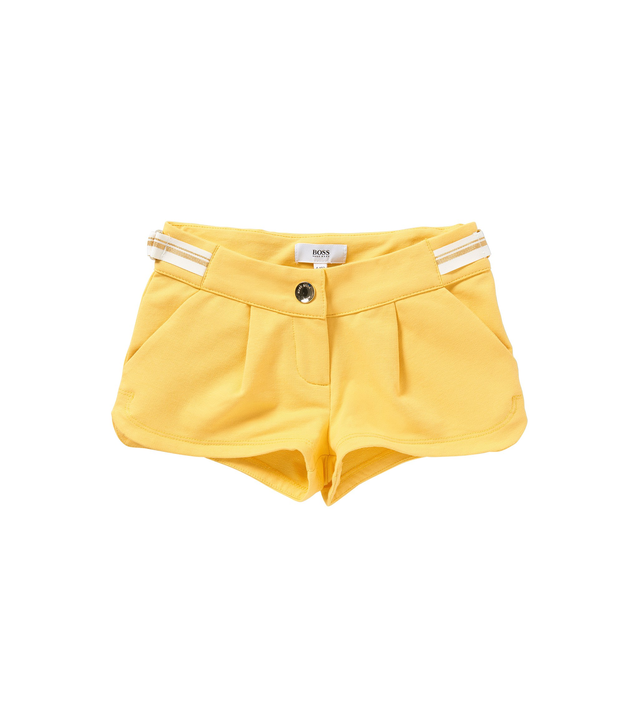 Kids' shorts in stretch cotton with tie: 'J14173', Yellow