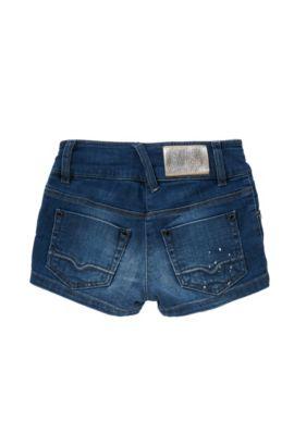 Short pour enfant Slim Fit en coton stretch, Bleu