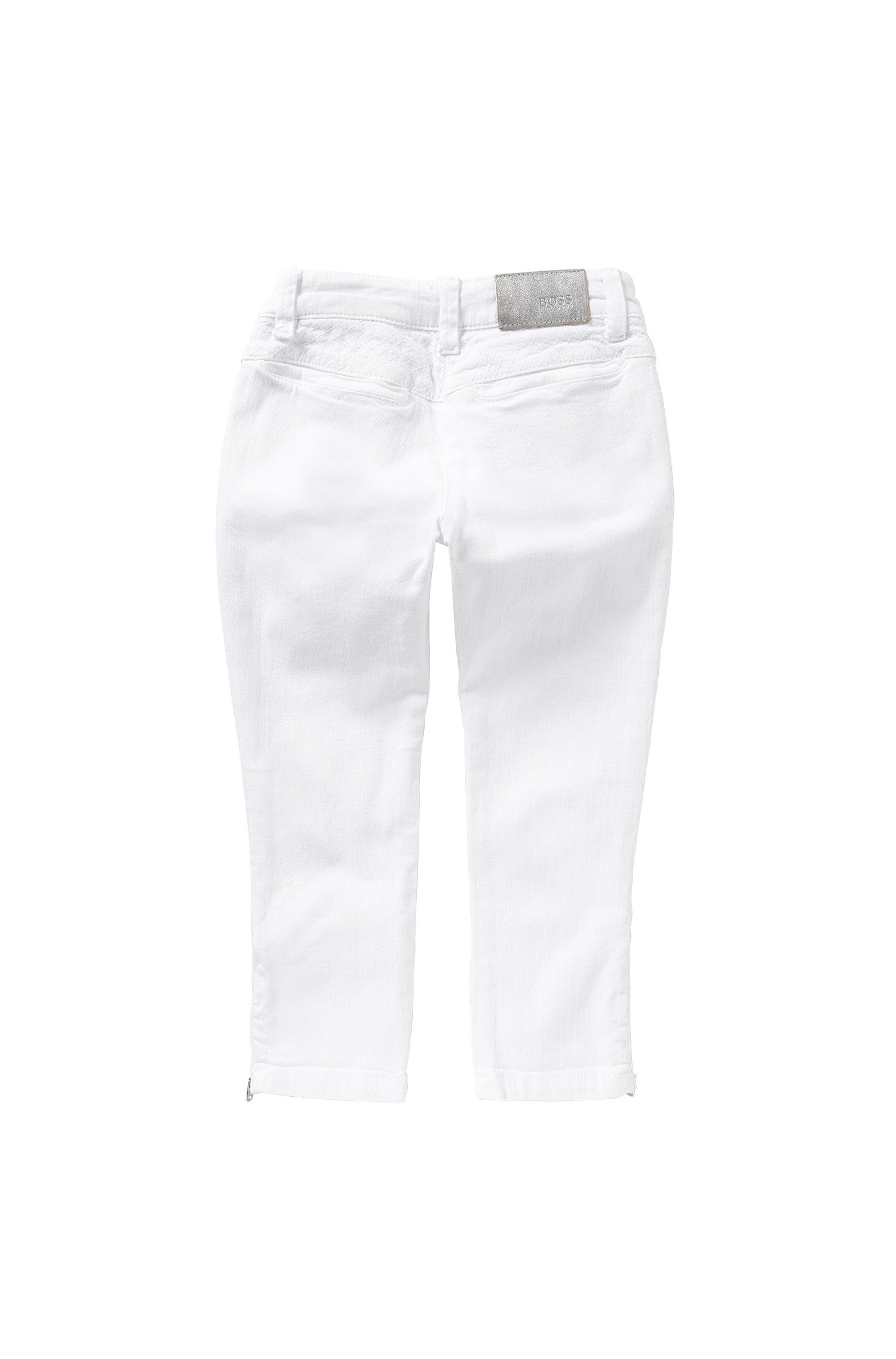 Slim-fit kids jeans in stretch cotton with decorative zips: 'J14176'