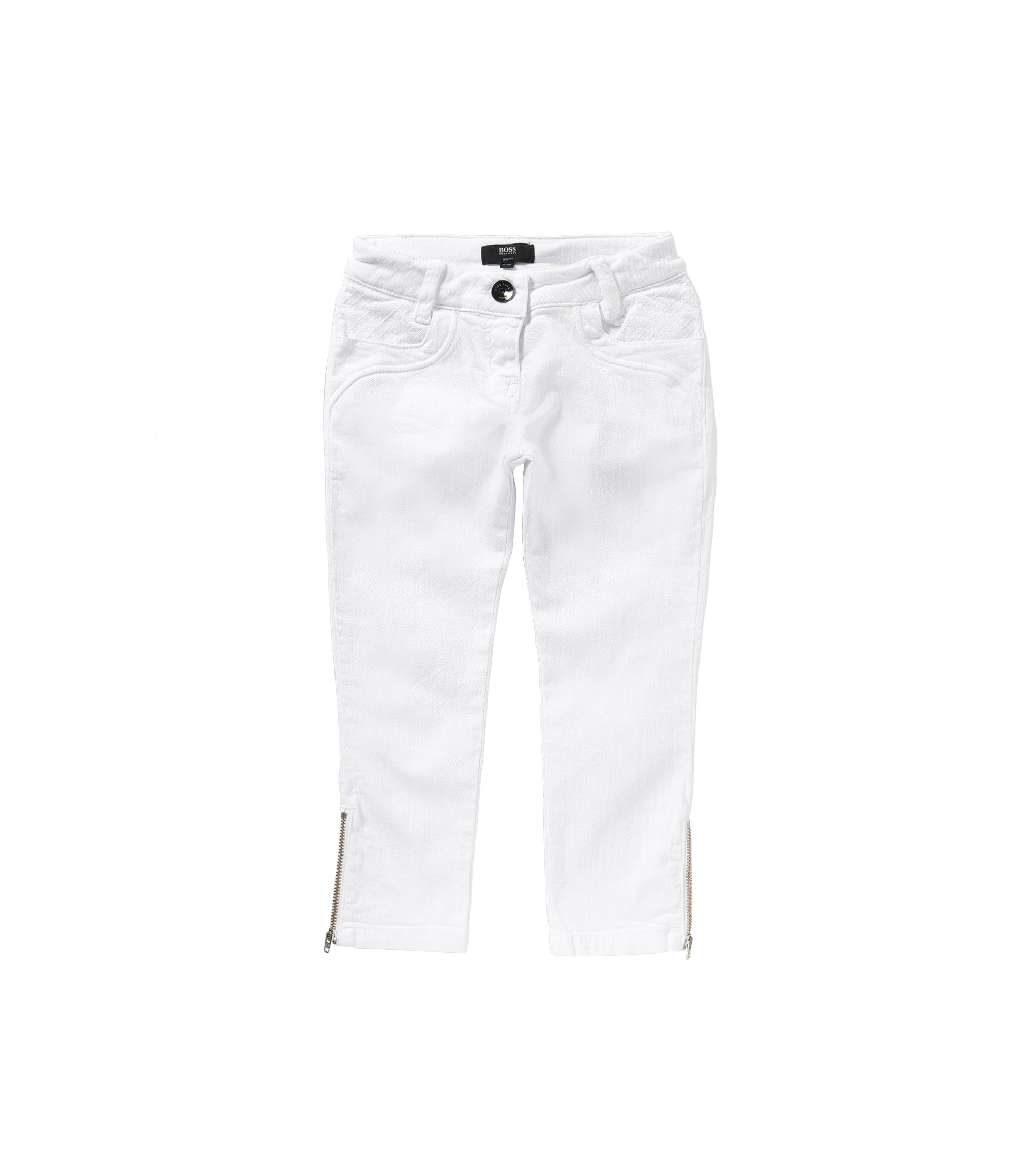 Slim-Fit Kids-Jeans aus Stretch-Baumwolle mit Zier-Zippern: 'J14176', Weiß