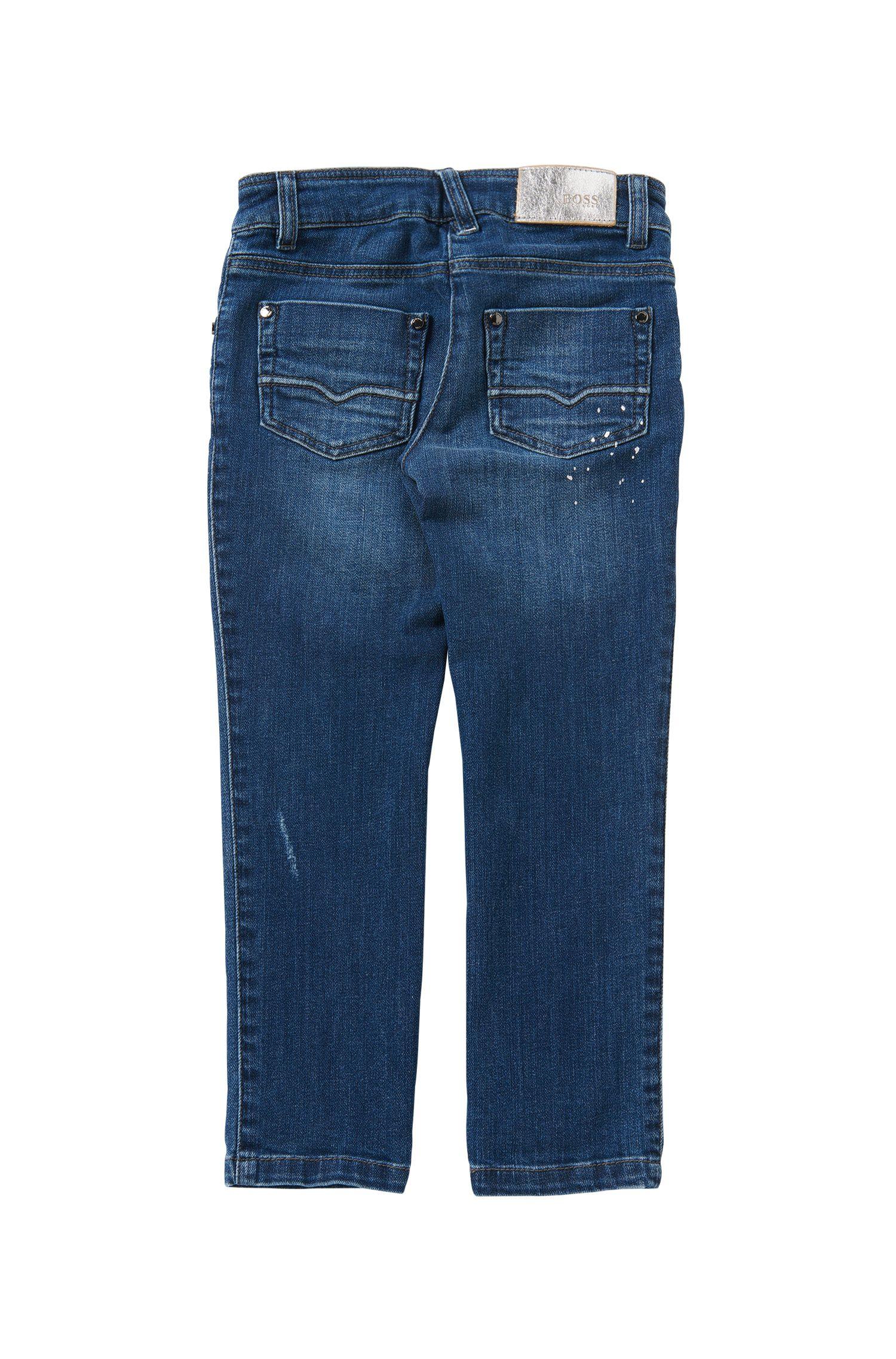 Jeans da bambina regular fit in cotone elasticizzato con trattamento effetto usato: 'J14181'