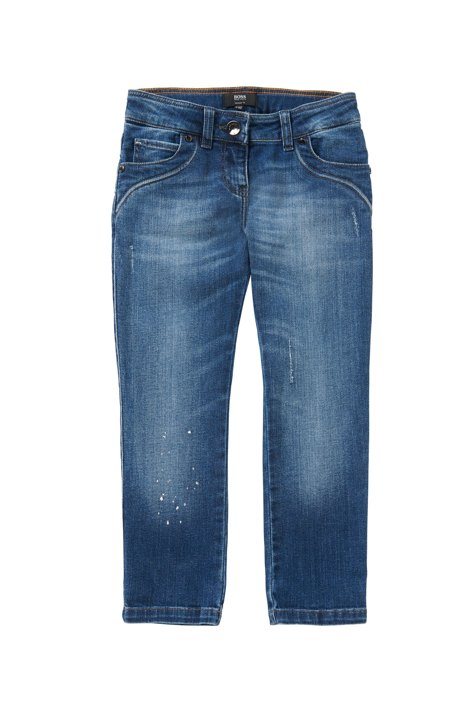 Regular-fit kids' jeans in stretch cotton with a used wash: 'J14181'