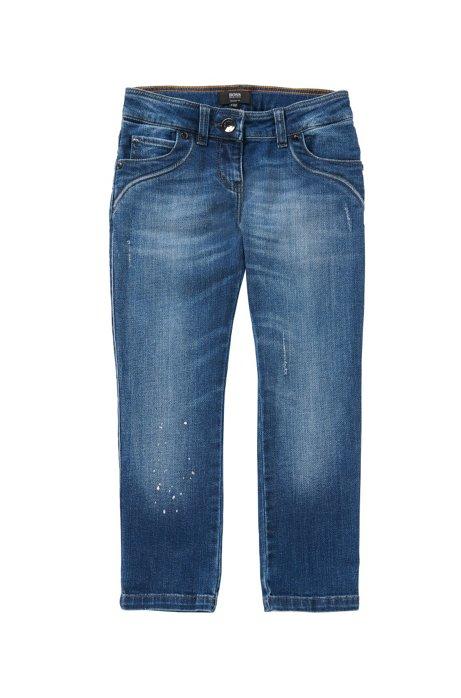 Jeans Regular Fit pour enfant en coton extensible à effets délavés et usés: «J14181», Bleu