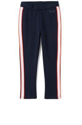 Leggings da bambino in jersey elasticizzato con righe laterali a contrasto, Blu scuro