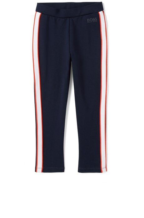 Kids' leggings in stretch jersey with contrast side stripes, Dark Blue