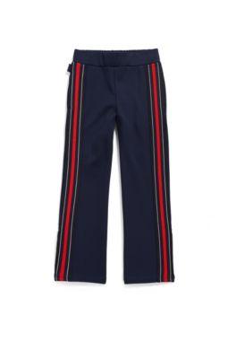 Kinderbroek van Milano-jersey met contrasterende streep opzij, Donkerblauw